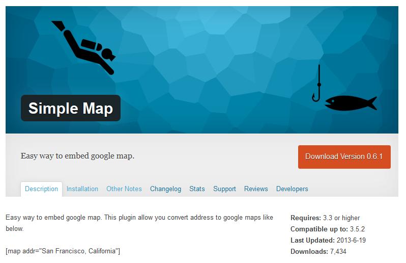 WordPressプラグインSimple Map